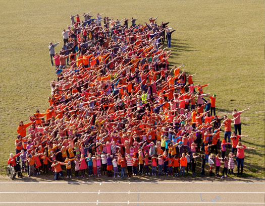 Blessed Sacrament School Does the Dab for Orange T-Shirt Day<br>