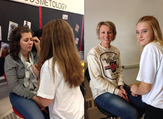Dewberry School Grade 9 Cosmetology Students Practice on Parents<br><br>